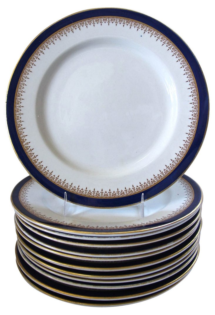 Worcester Blue & Gold Plates, S/12, 1906