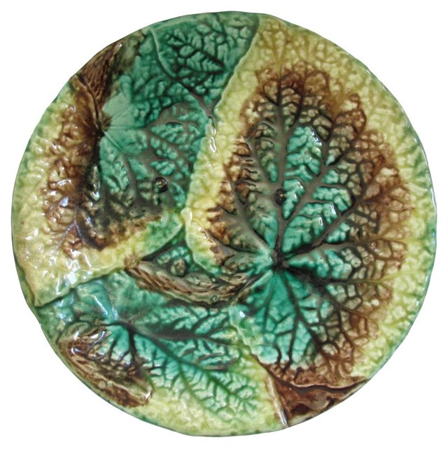 Antique   Majolica Begonia Plate