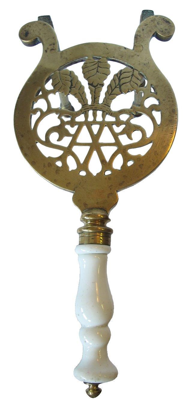 Antique Brass & Porcelain Trivet