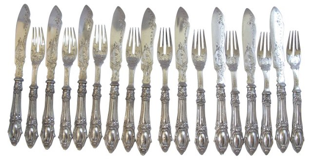 Antique Silverplate Cutlery, Svc. for 9