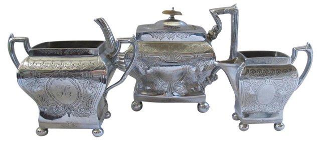 Art Deco Silverplate Tea Service, 3 Pcs