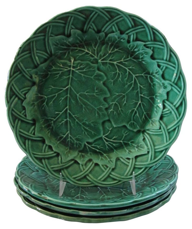 Antique Green Majolica  Leaf Plates, S/4