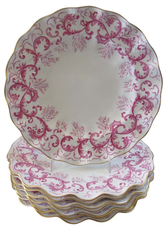 Royal Crown Derby Ruffled Plates, S/8