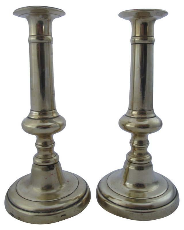 Heavy English Brass Candleholders,  Pair