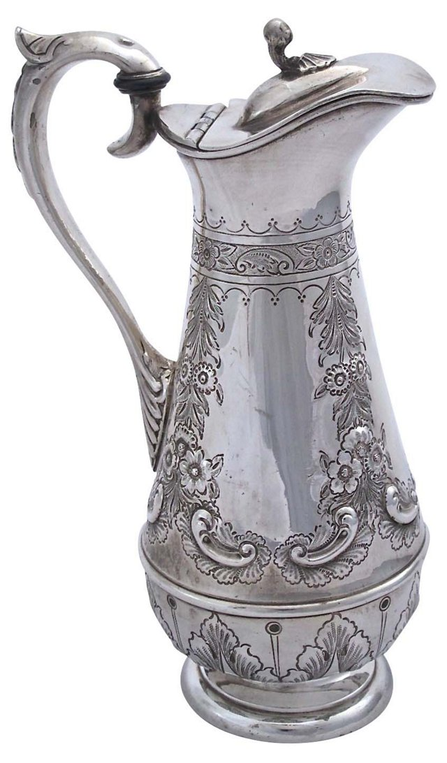 Antique English Silverplate Wine Carafe