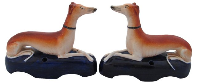 Staffordshire Greyhound Inkwells, Pair
