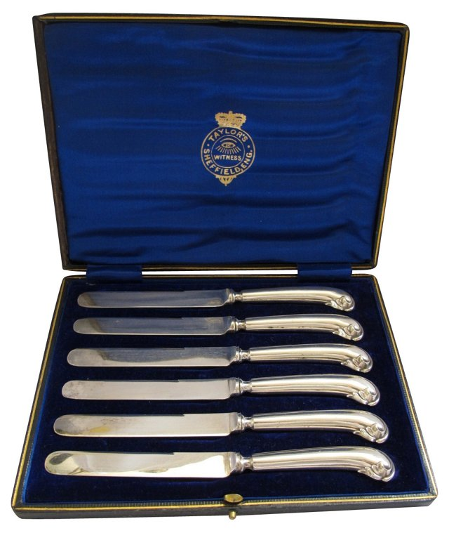English Silverplate Butter Knives, S/6