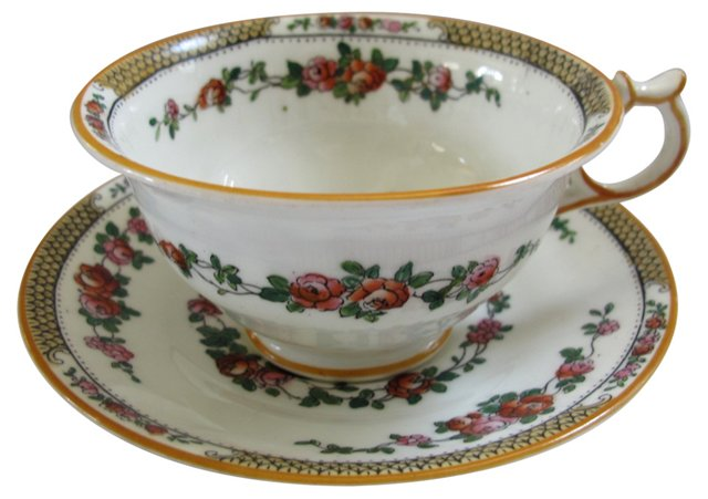 George Jones Porcelain Bird Cup & Saucer