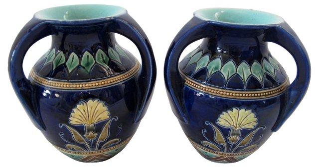 French Art Deco Majolica Vases,   Pair