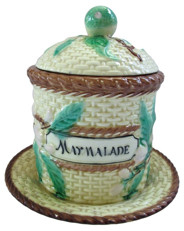 Antique Majolica Marmalade Jar
