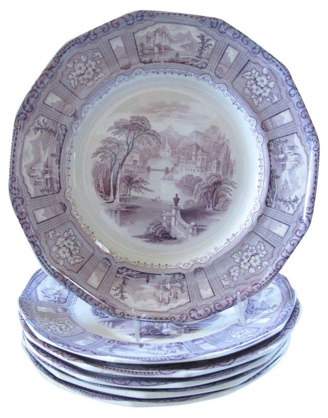 Lavender Transferware Dinner Plates, S/6