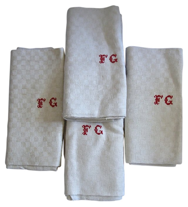 French Linen Dish Towels, S/4
