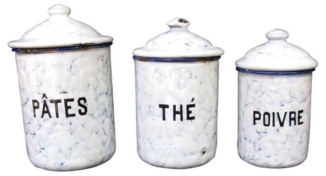 French Graniteware Canisters,  S/3