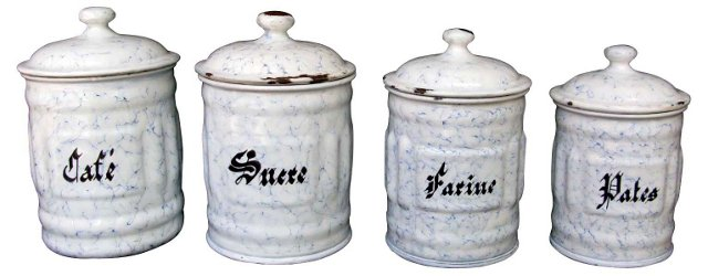 French Graniteware Canisters,  S/4