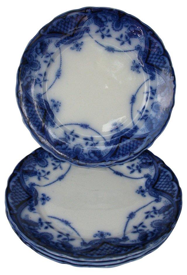 Antique Flow Blue Dinner Plates, S/4