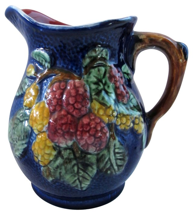 Cobalt Majolica Pitcher w/ Berries