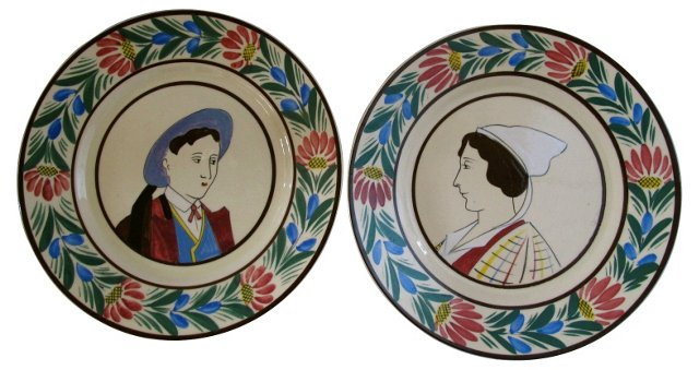 French Faience Quimper Wall Plates, Pair