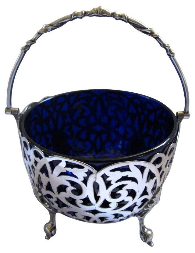 English Silverplate & Cobalt Basket