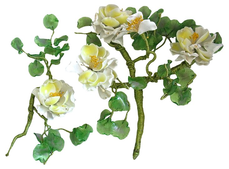 Italian Handblown Glass Flowers, S/2