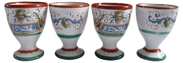 French Faience Egg Cups, S/4