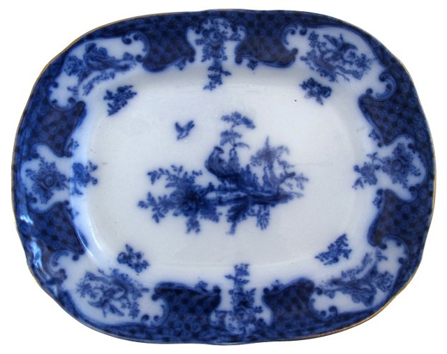 Flow Blue Warwick  Platter w/ Birds
