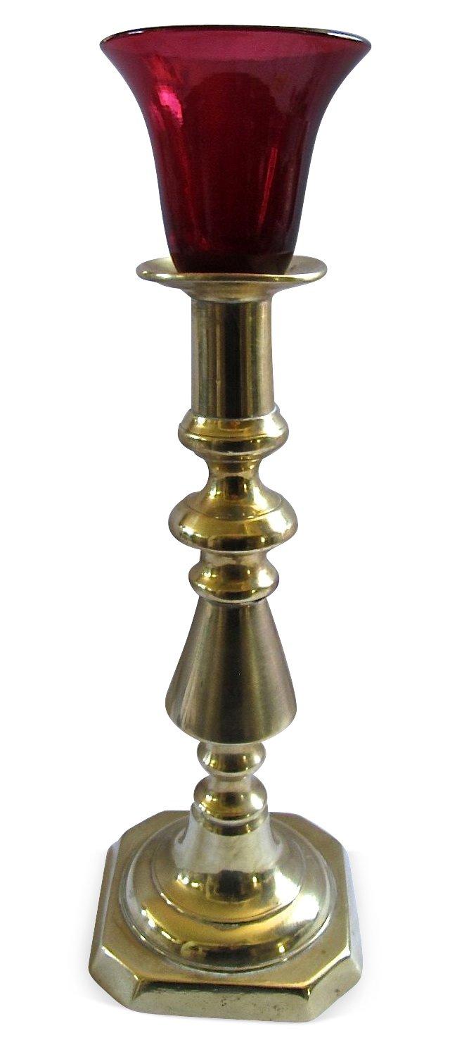 Brass & Cranberry  Glass  Candlestick