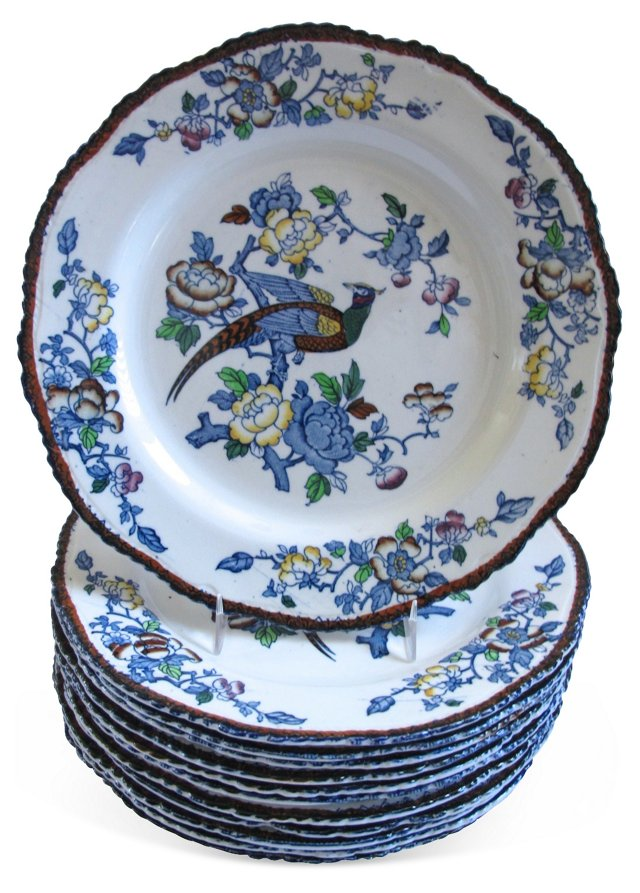 English Transferware Dinner Plates, S/12