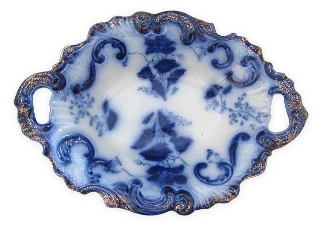 Antique Gilt Flow Blue Serving Dish
