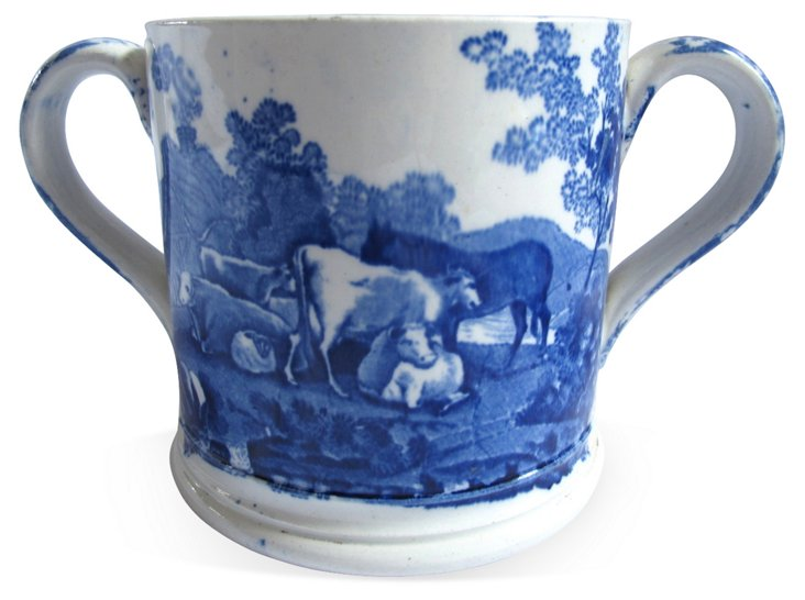 19th-C. Staffordshire  Loving Cup