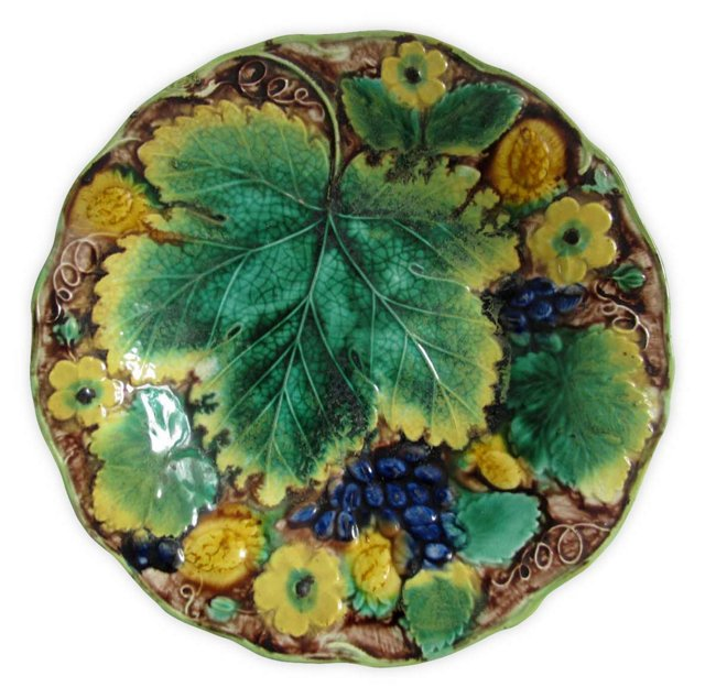 Antique Majolica Floral & Fruit   Plate