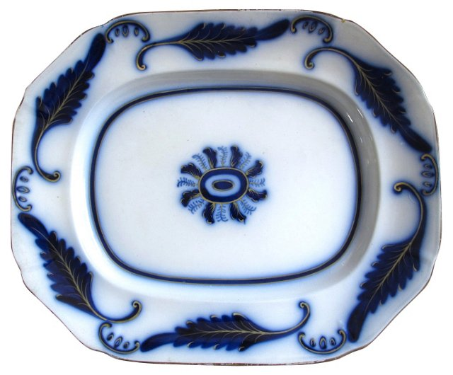 Early Flow Blue Fern Platter, C.  1840