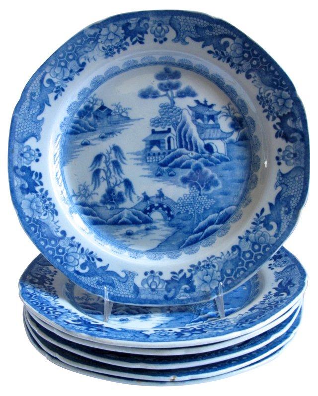 18th-C. English Earthenware Plates, S/6