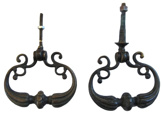 Antique French Drawer Pulls, Pair