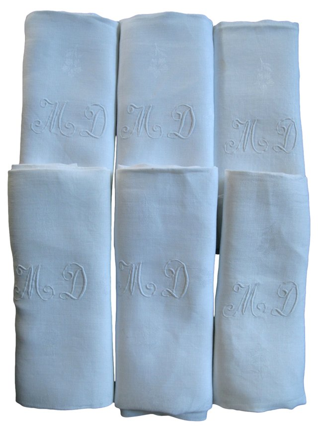 MD French Monogrammed Napkins, S/6