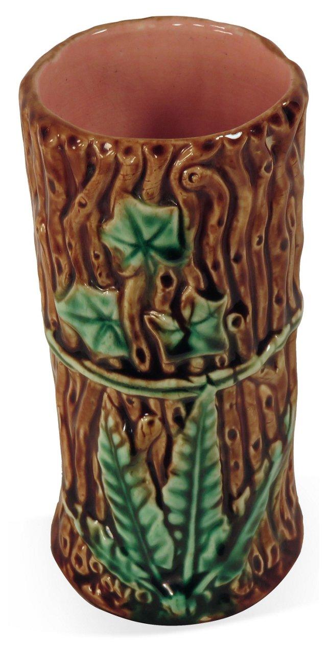Antique Majolica Fern & Ivy Vase
