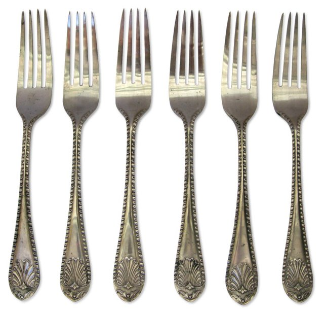 Silverplate Kings Pattern Forks, S/6