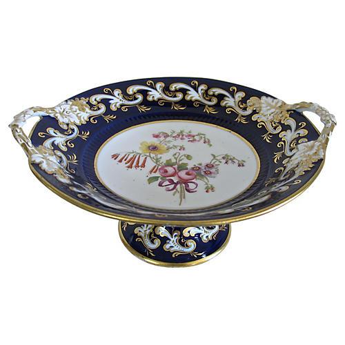 Antique Hand-Painted Porcelain Comport