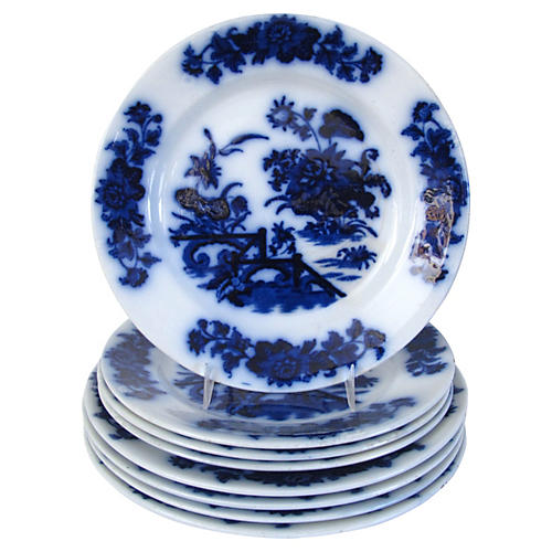 1860s Flow Blue Chinoiserie Plates, S/8