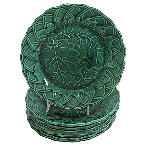 Majolica Basket & Leaf Plates, S/8