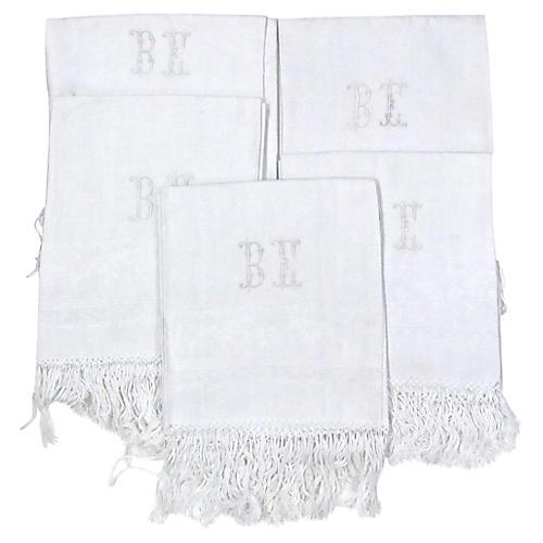 Antique French Linen Bath Towels, S/5