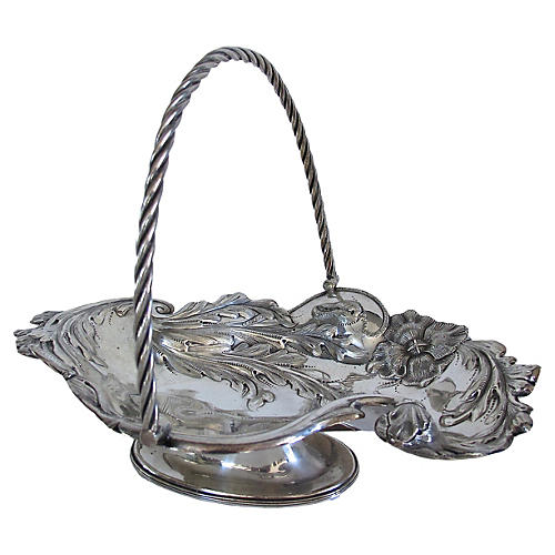 Hand-Decroated Silverplate Cake Basket