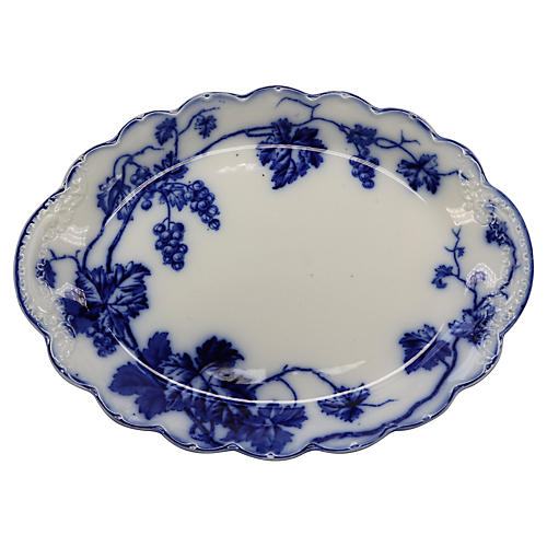 Flow Blue Warwick Grapevine Platter