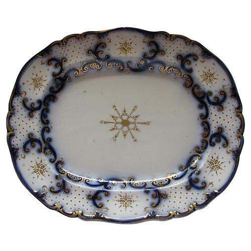 Antique Flow Blue Ironstone Platter