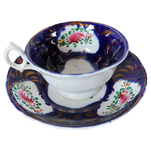 Antique Gaudy Welsh Cup & Saucer
