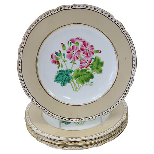 Antique Hand-Painted Floral Plates, S/4
