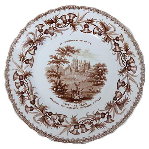 Transferware Deer Wall Plate, 1839