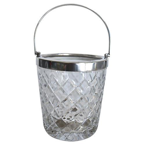 Cut Crystal & Silver Plate Ice Bucket