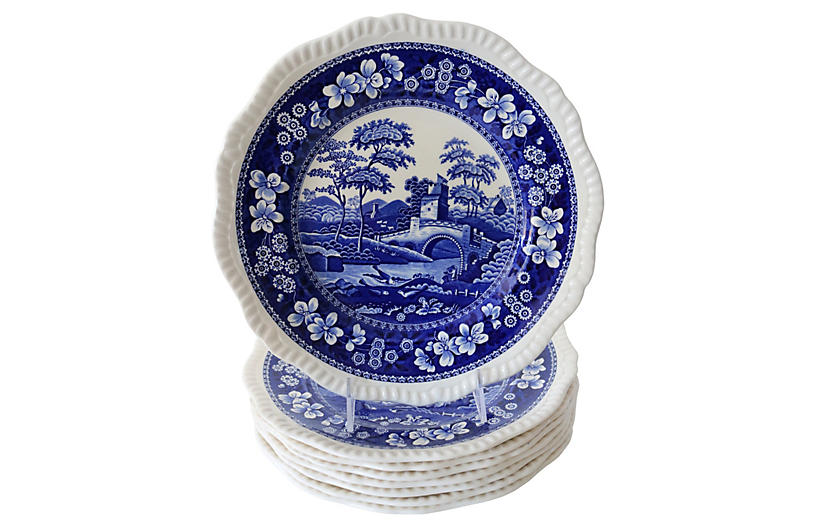 Copeland Spode Tower Dinner Plates, S/8