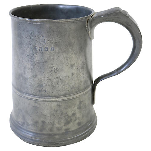 Georgian Pewter Ale Tankard, C. 1800