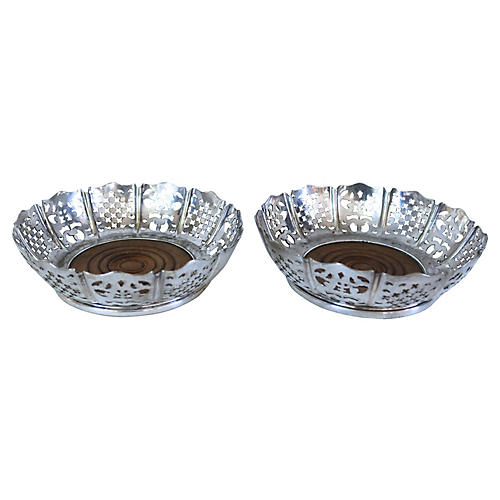 Antique Silver-Plate Champagne Baskets